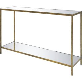 JONATHAN HALL TABLE Beautiful Console Table For Narrow Spaces. Shown In  Antiqued Bronze With Mirrored Top And Shelf.