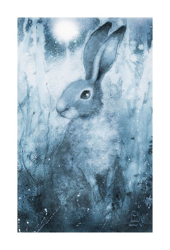 Moonlight Hare -  Signed limited edition ( run of 350)  giclee print, mounted and wrapped and ready to give as a gift  (or keep...)