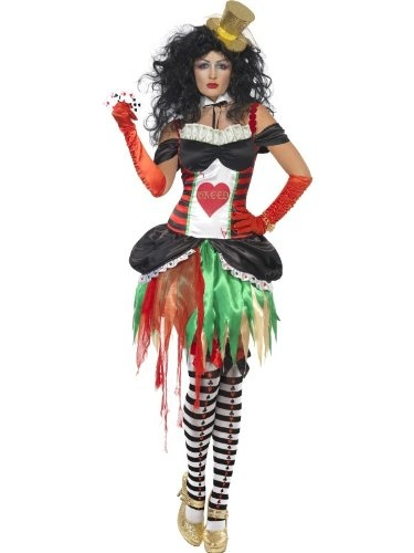 Sieben 7 Todsünden Seven Deadly Sins Habgier Geiz Damenkostüm Kostüm für Damen Halloween Halloweenkostüm Fasching Karneval Poker Karten Glücksspiel Gr. 36/38 (S), 40/42 (M), 44/46 (L), Größe:M