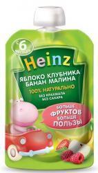 Хайнц пюре яблоко, клубника, банан, малина с 6 мес 100г  — 40р.  Пюре «Heinz» яблоко клубника банан малинапредназначено для питания детей ввозрасте от6 месяцев.     В яблочном пюре содержатся органические кислоты, которые имеют особое значение для детей первого года жизни. Пектин благоприятно влияет на работу желудочно-кишечного тракта, способствуя процессу пищеварения. В клубнике присутствуют витамины группы В, С каротин, фолиевая кислота, клетчатка, каротин пектин, органичные кислоты…