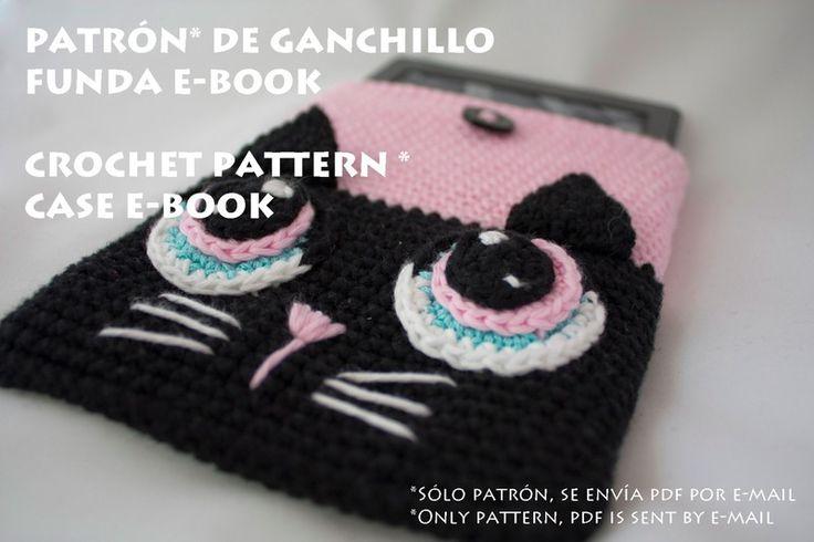 Manuales de ganchillo - Patrón de funda e-book gato - Crochet pattern cover ebook
