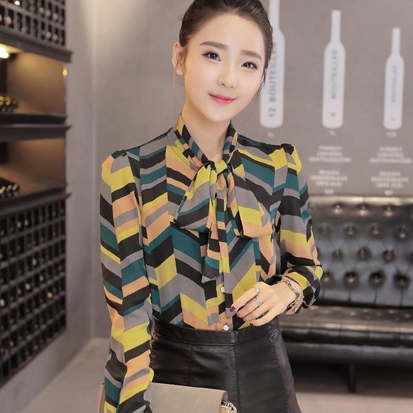 New Work Wear Office 2016 Shirt Women Tops Yellow Floral Bow Tie Pattern Geometric Print Blouse Women Clothing Autumn T65628R