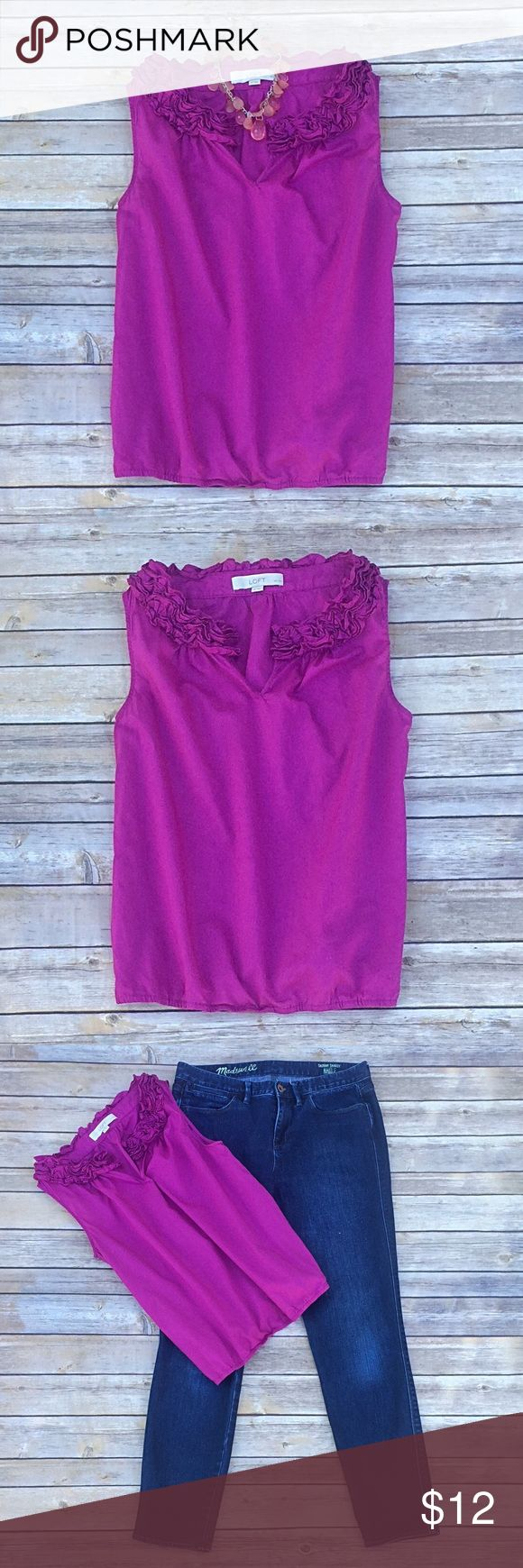 """Pretty bright pink/purple blouse from LOFT Super cute top from LOFT in a bright pinkish purple.  Sleeveless with fabric """"flowers"""" around the neckline.  Bottom hem contains a thin strip of elastic, but isn't super tight.  I think it's mainly there to add shape and a blousy effect.  100% cotton.  Good condition - one teeny tiny loose thread in the material at the bottom in the front (hard to even see).  Size SP (small petite) - see picture for exact measurements. LOFT Tops Blouses"""