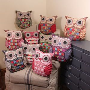 Vintage Inspired Owl Cushion - children's room accessories