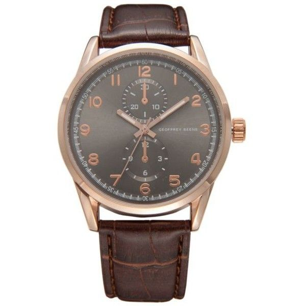 Geoffrey Beene  Rose Gold Brown Leather Strap Watch ($25) ❤ liked on Polyvore featuring men's fashion, men's jewelry, men's watches, brown, mens rose gold watches and mens brown leather watches