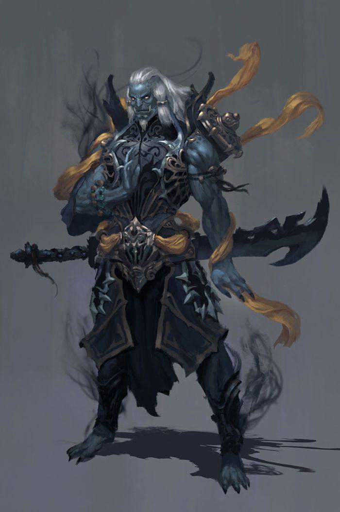 Half-fiend demon devil Male Fighter Medium Sword Brute Strong Shadow Dark Evil