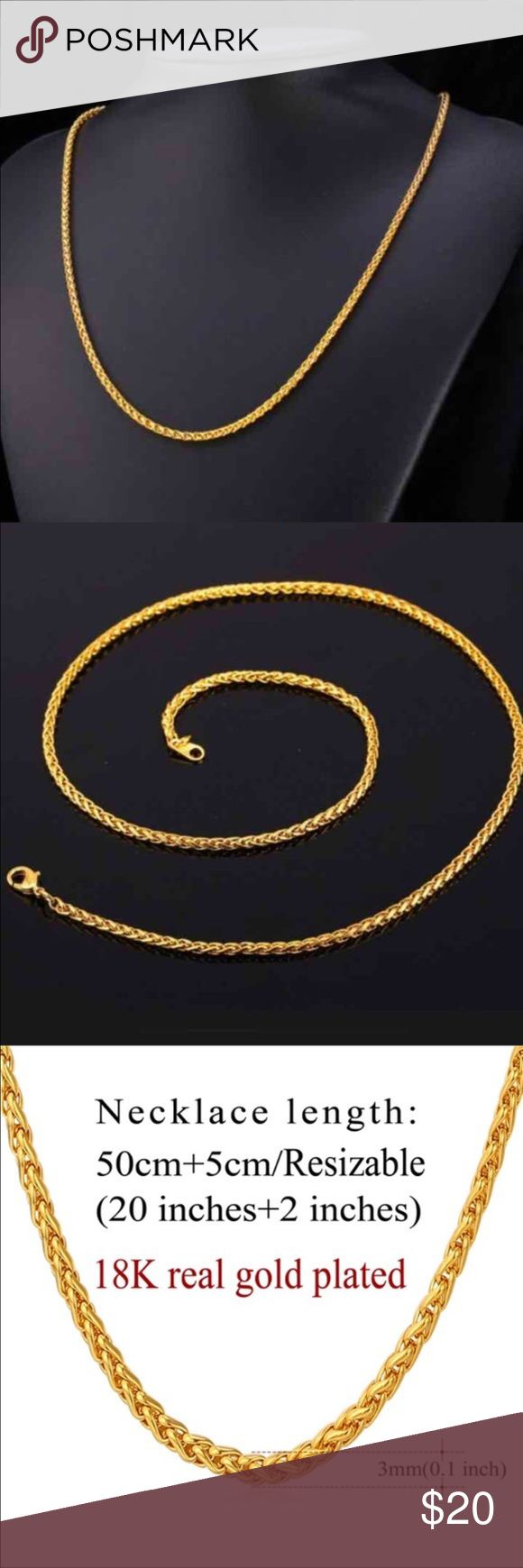 New 18k Gold Chain For Men Or Women Brand New Real 18k Gold Plated Chain Fit