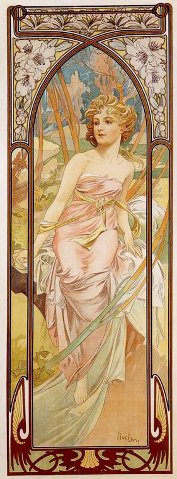 Alphonse Mucha (Czech, 1860 - 1939). The Times of the Day: Morning Awakening, 1899. Color Lithograph, 107.7 x 39 cm.