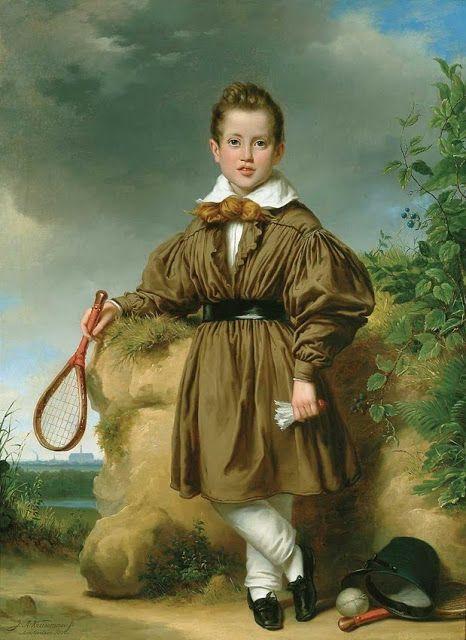 Jan Adam Janszoon Kruseman (Dutch artist, 1804-1862) Boy Holding Battledore and Shuttlecock