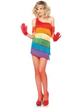 Sexy Adult Rainbow Flapper Costume