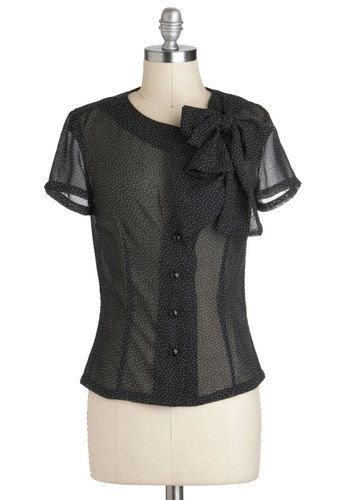 You Dot the Love Top by Bettie Page - Black, White, Polka Dots, Buttons, Tie Neck, Party, Work, Short Sleeves, Sheer, Mid-length