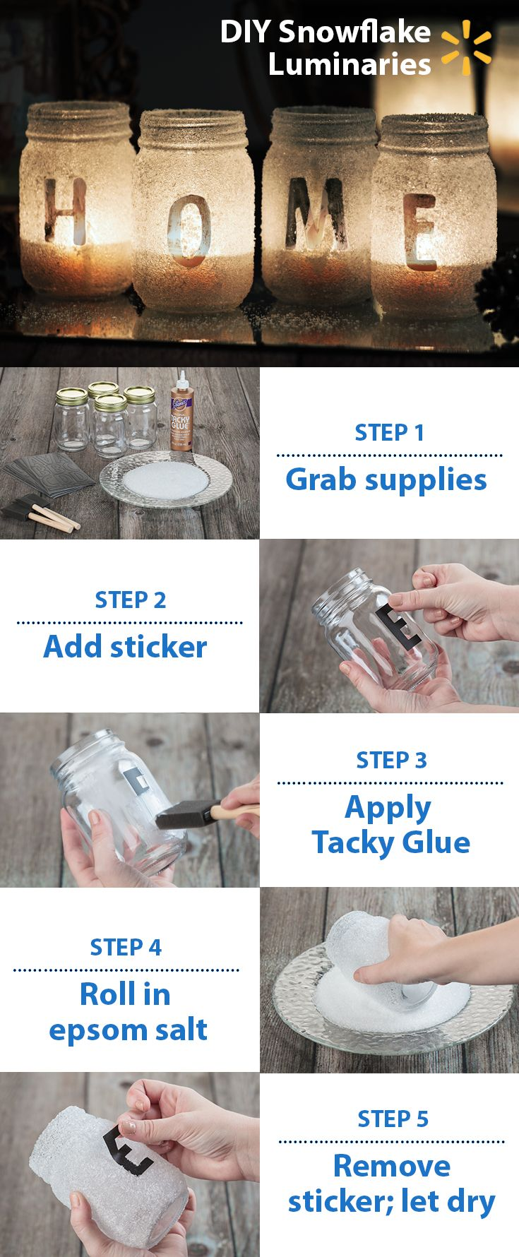 These pretty DIY snowflake luminaries are so easy to make using a few simple supplies from your local Walmart! Pick up some Aleene's Tacky Glue, epsom salt, mason jars, and stickers and get your winter creativity on!