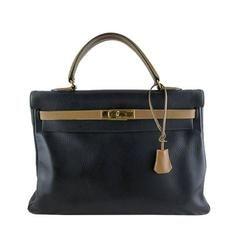 Hermes Kelly 32 Bicolor Black Brown Ardennes Leather Bag