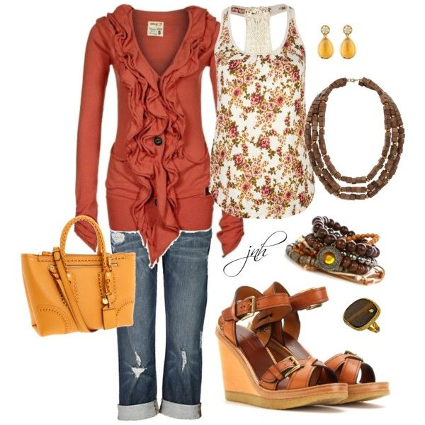 Needs different jewelry but its cute for a casual summer day and into the night: Colors Combos, Fabulous Sweaters, Dreams Closet, Fashion Style, Burnt Orange, Outfit, Jeans, Polyvore, The Cardigans