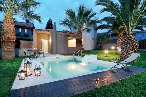 Senior Villas with private pool in Paradise Island Villas Hotel, Anissaras, Heraklion, Crete. Paradise Island Villas is a unique family run Boutique Villa Hotel, a complex of just 12 stylish luxury villas. Discreetly tucked away in the coastal