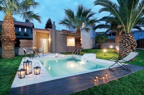 Senior Villas with private pool in Paradise Island Villas Hotel, Anissaras, Heraklion, Crete. Paradise Island Villas is a unique family run Boutique Villa Hotel, a complex of just 12 stylish luxury villas. Discreetly tucked away in the coastal