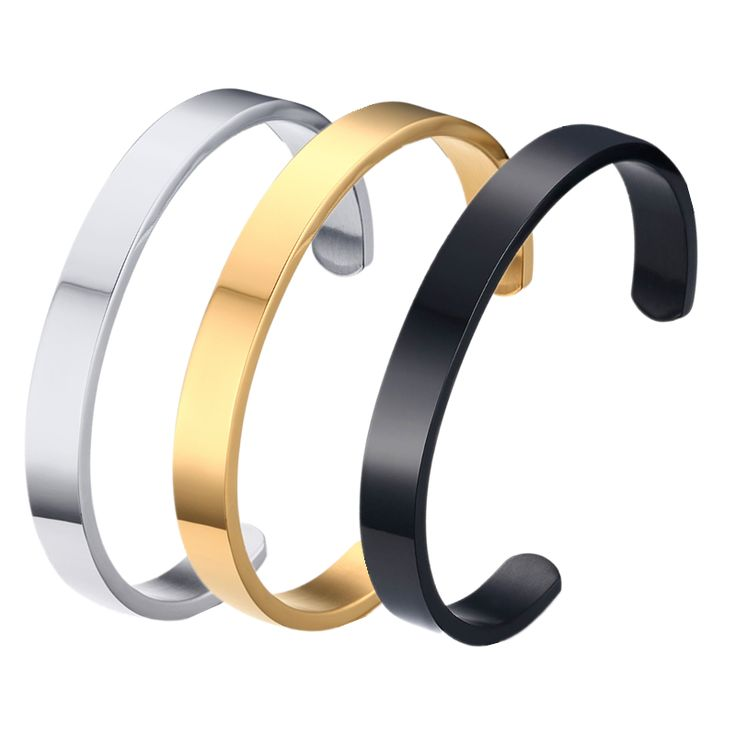 New black gold silver customized jewelry engraving stainless steel 6mm 8mm men engravable cuff bracelet couple Bangle for women