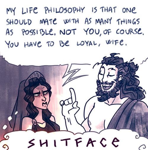I think this explains Hera's attitude toward Zeus's indefinitely better than anything. She is queen and his equal, but he did not seek her permission for his dalliances