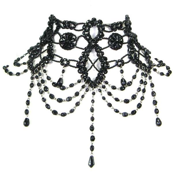 BLACK BEADED GRAND VICTORIAN CHOKER ❤ liked on Polyvore featuring jewelry, necklaces, accessories, chokers, jewels, black jet necklace, black bead necklace, black jewelry, beading necklaces and beaded choker