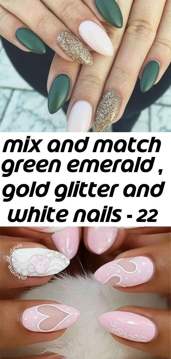 Mix And Match Green Emerald Gold Glitter And White Nails 22 Fall Nail Designs To Spice Up Your 1 Desig White Nails Fall Nail Designs Beauty Nails Design