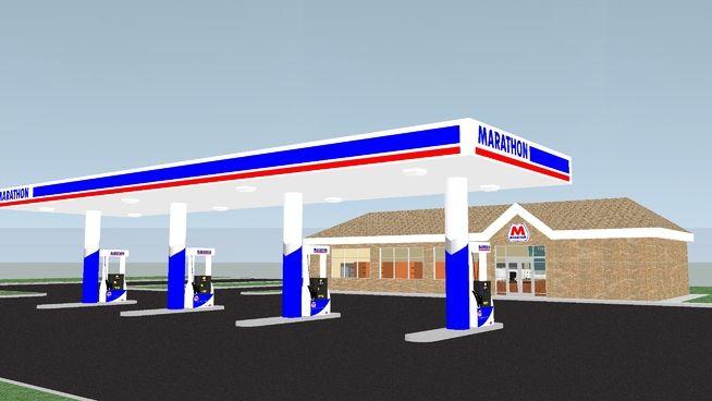 Marathon Gas Station - Fully Furnished - 3D Warehouse