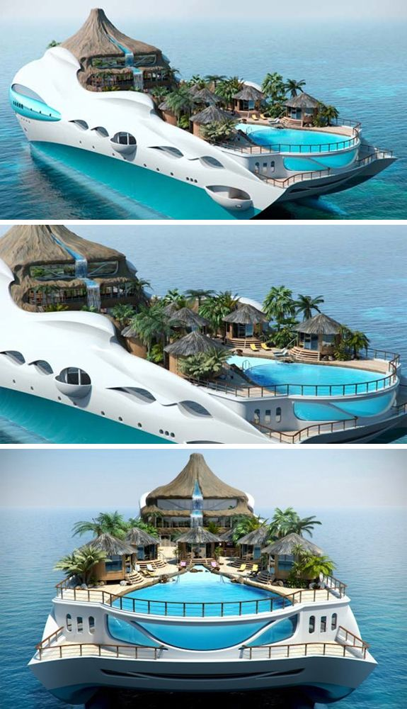 Yacht designed like a Tropical Island Paradise! Love it? Hate it? #yacht #vacation #resort
