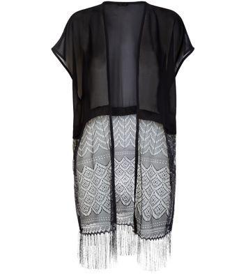 Black Lace Tassel Hem Longline Kimono
