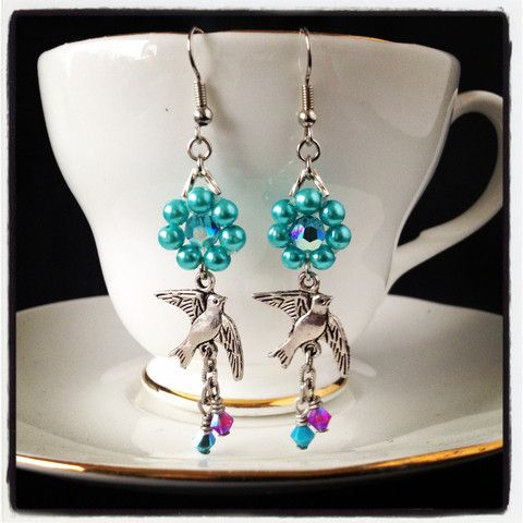 """Enchanted Dove"" antique bird vintage style floral pearl Earrings in mint  #JewelInATeacup"