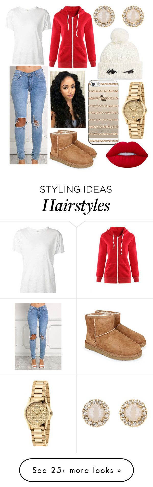 """""""A Yellow B*tch With Green Hair, Real Weirdo"""" by amishangel2013 on Polyvore featuring UGG Australia, R13, Casetify, Gucci, Kate Spade, WithChic and Lime Crime"""