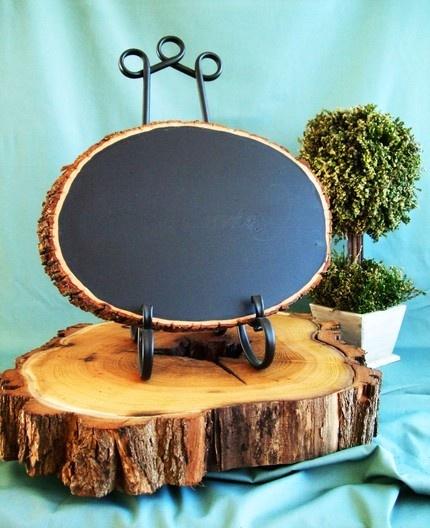 Rustic Wood Chalkboard, Oval Shaped
