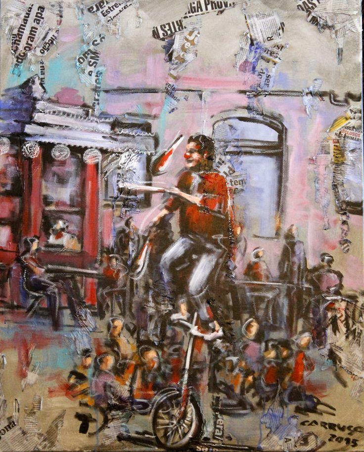 """Animador de rua"" / ""Street entertainer"" Técnica mista sobre tela / Mixed media on canvas  100 x 80 cm  2015"