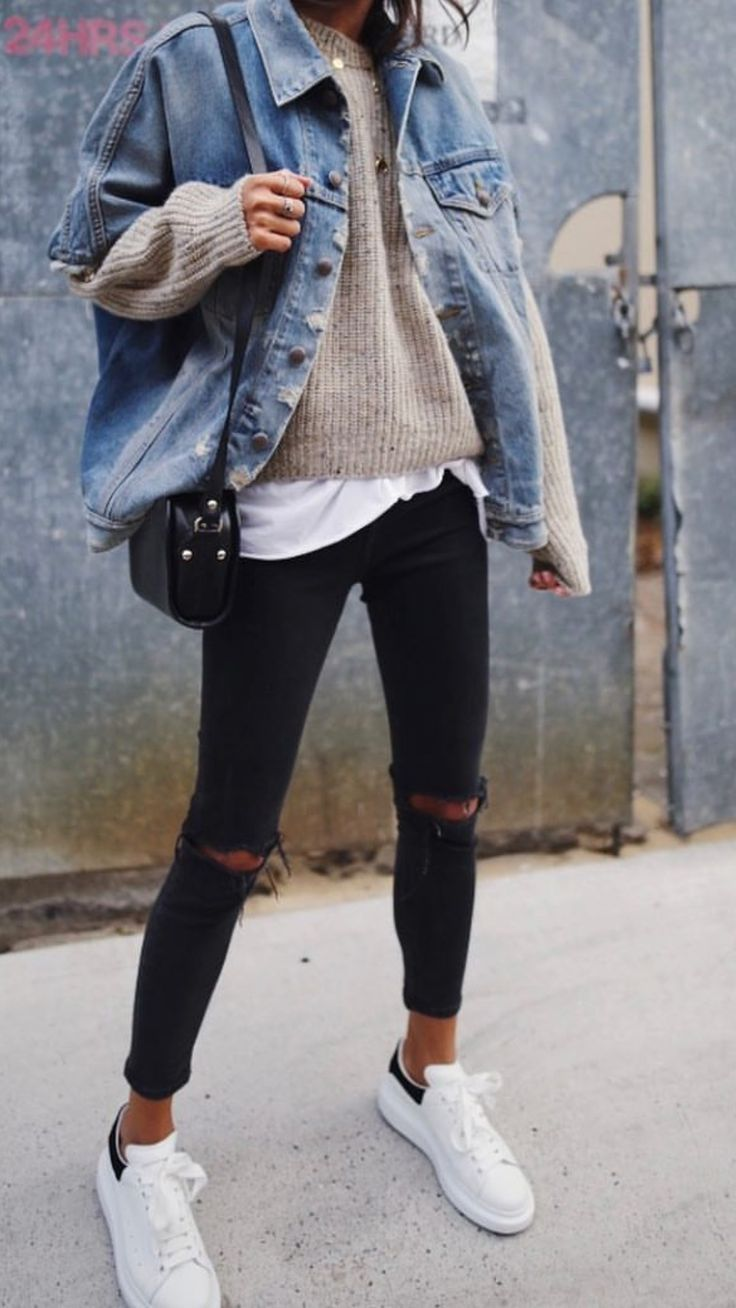 Autumn outfits , denim jacket, sweater, t shirt, black