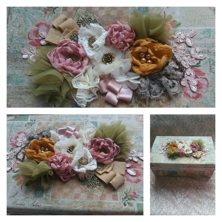 Box decorated with decoupage and fabric flowers