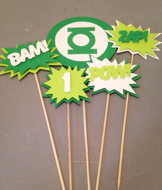 Green Lantern Centerpiece, 5 pc, Superhero party, Batman  Party, Batman  Birthday Party