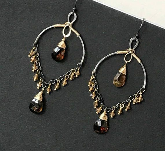 Tourmaline Chandelier Earring Bronze Tourmaline Petrol Tourmaline Earrings Oxidized Sterling Silver Gold Fill October Birthstone Mixed Metal Rich, cognac colored, faceted tourmaline gemstone teardrops dangle from oxidized sterling silver handmade chandelier earring forms on oxidized