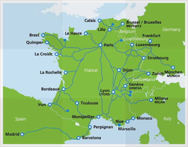 Map with TGV  high-speed train routes -- The domestic TGV routes can get you to every corner of France. In the north, there are international connections to Brussels in Belgium and Luxembourg. In the east, the TGV can take you to the German cities Frankfurt and Munich. If you travel south, you can take a direct train to Milan in Italy or Barcelona in Spain.