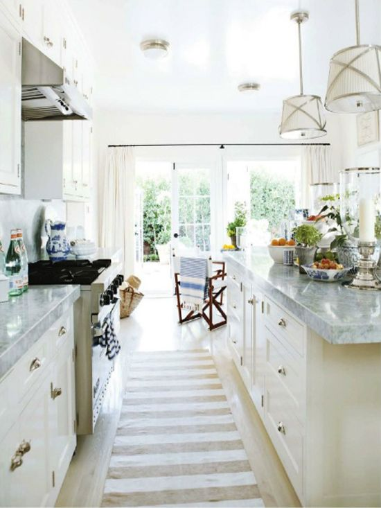 Coastal Style: Hamptons Style Kitchen Makeover   Love The Runner Down The  Middle Of The Cabinets