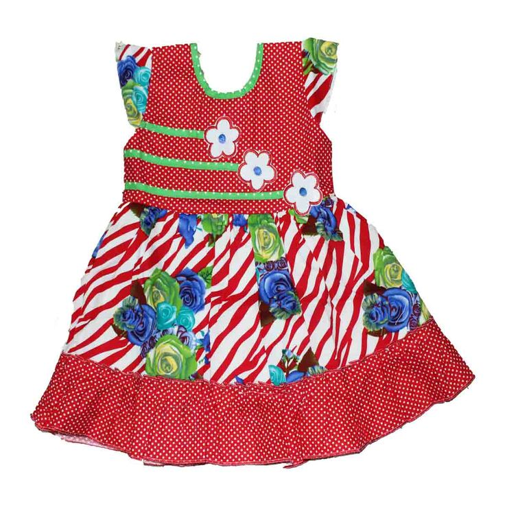 Kids cotton frock for 6 months to 4 years - Rs 390 - Free shipping all over India -   http://www.princenprincess.in/index.php/home/product/369/Red%20cotton%20frock%20with%20blue%20and%20green%20rose