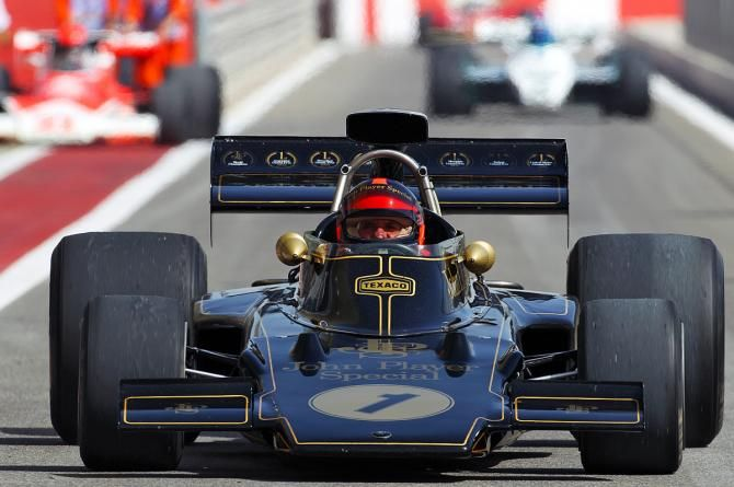 Emerson Fittipaldi in the Lotus 72