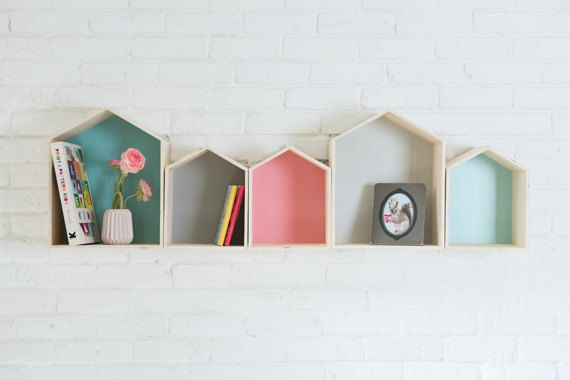 Aqua Colored House Shaped Shelf Wooden by TweelingenHomeDecor