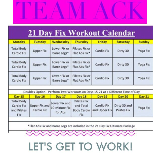 21 Day Fix workout schedule. Use the Doubles workout option if you are ready to push yourself further! More info. Here: Www.facebook.com/groups/newyearnewyou21dayfix/