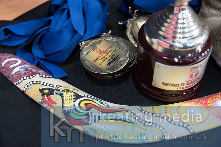 Winner's medals and trophy, along with a boomerang for Women's Volleyball World Grand Prix Finals Group 3 Canberra - Hungary v Australia