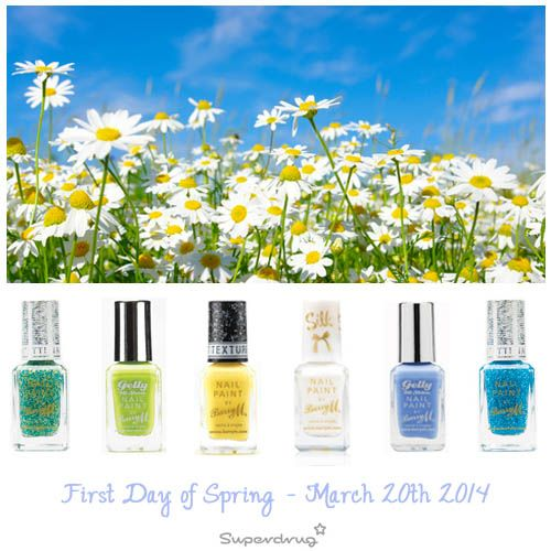 First Day of Spring - March 20th 2014. Get your spring nails inspiration at Superdrug now. Check out our Barry M nails!