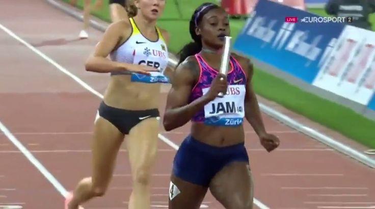 Elaine Thompson ran an impressive anchor leg to help win Jamaica's third consecutive 4x100m relay Diamond League Trophy in Zurich, Switzerland on Thursday.