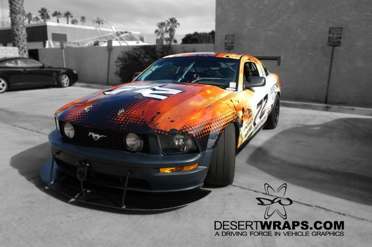 DesertWraps.com will be seen on the track. We're located in Palm Desert, CA. Give us a call at 760-935-3600. #Mustang #CarWrap #VehicleWrap #RaceCar #Branding