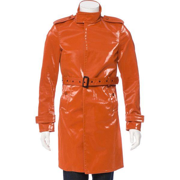 Pre-owned Burberry Prorsum Lightweight Rain Coat ($575) ❤ liked on Polyvore featuring men's fashion, men's clothing, men's outerwear, men's coats, orange, mens mac coat, mens coats, mens lightweight raincoat and mens rain coat