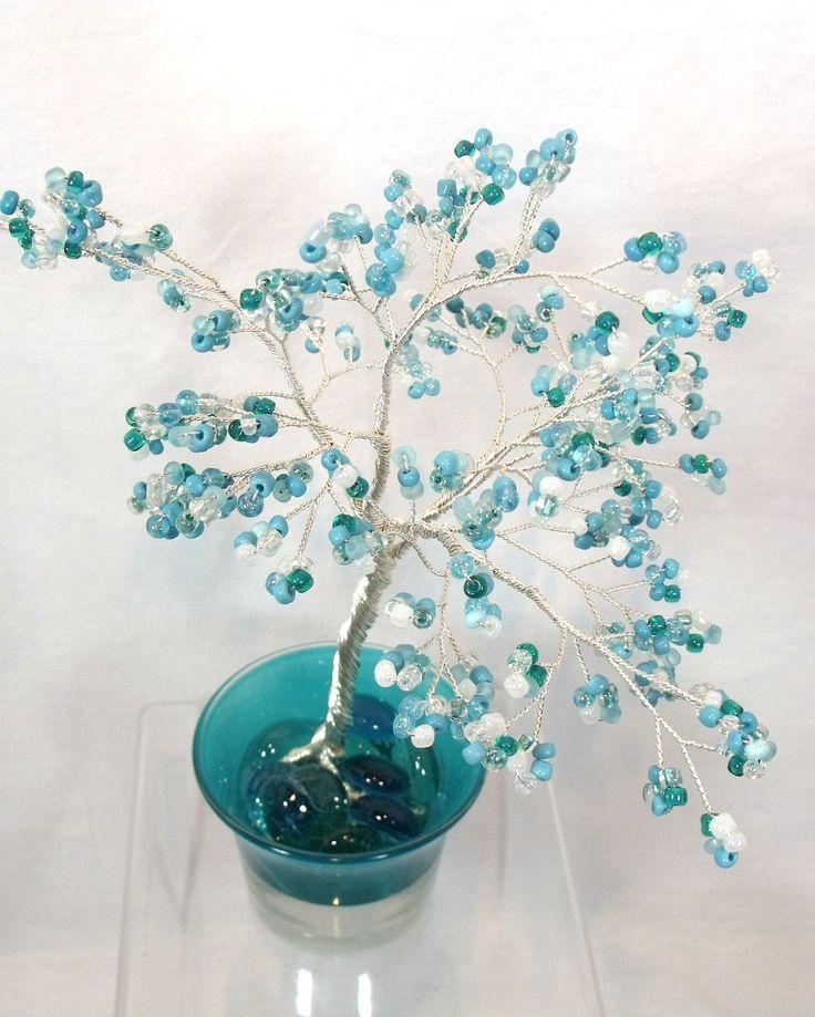Shimmering Turquoise Beaded Bonsai - Ming Tree. $35.00, via Etsy.