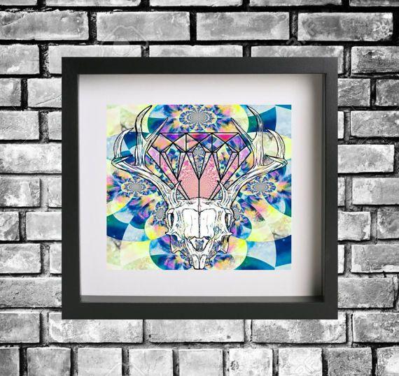 Hey, I found this really awesome Etsy listing at https://www.etsy.com/au/listing/517089165/geometric-skull-diamond-print