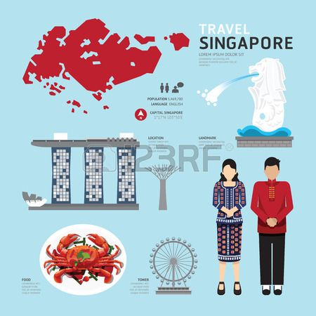singapore Flat Design Icons Travel Concept Vector Kho ảnh