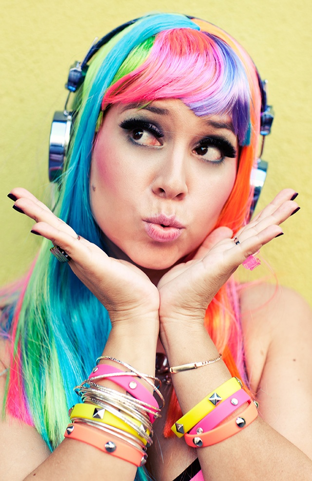Rock on! Go for the bold this Halloween as a rainbow-bright pop star